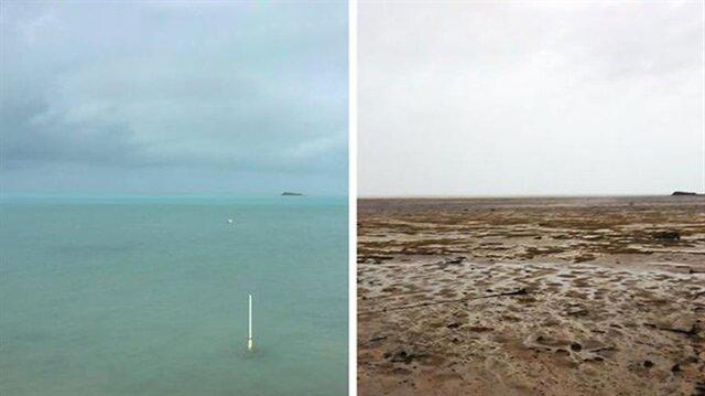 Irma Kasırgası sonrası okyanusun suyu kayboldu