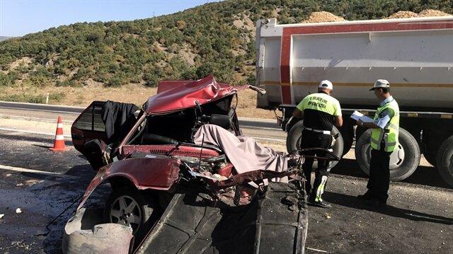 Meydana gelen trafik kazasından bir görüntü.