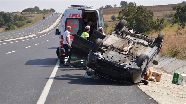 Tekirdağ'ın Malkara ilçesinde meydana gelen trafik kazasında 4 kişi yaralandı.