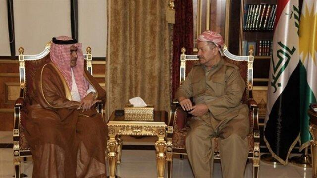 Irak Kürt Bölgesel Yönetimi (IKBY) Başkanı Mesut Barzani, Suudi Arabistan'ın Körfez İşlerinden Sorumlu Devlet Bakanı Tamir es-Subhan'la bir araya geldi.