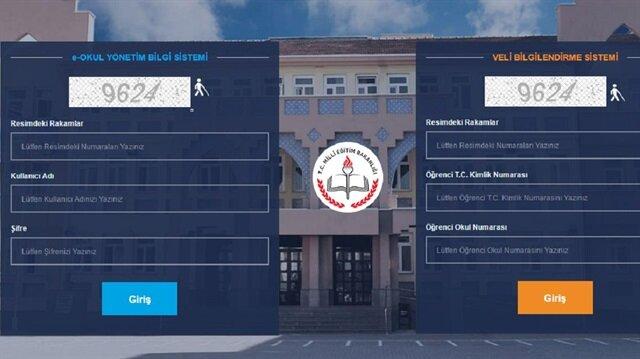 e-Okul Veli Bilgilendirme Sistemi giriş ekranı
