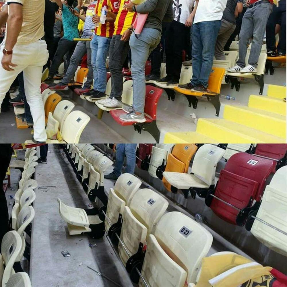 Yeni Malatya Stadı'nda taraftarlar koltukları kırarken tuvaletlerde de maddi hasara neden oldu.