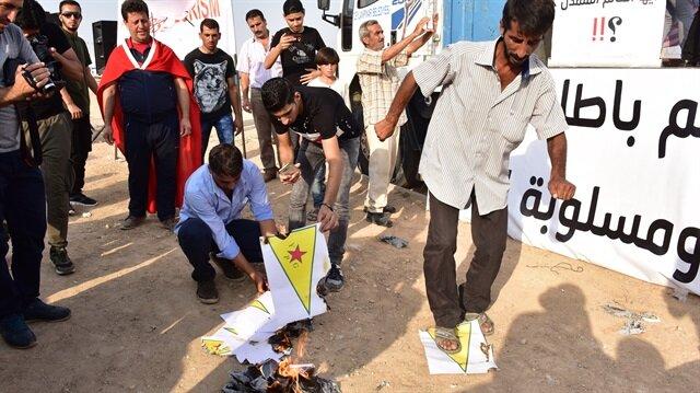 Sınırın sıfır noktasında terör örgütü PKK/PYD protesto edildi