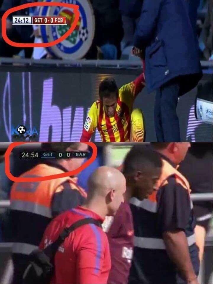 Neymar ve Dembele ikilisi Getafe deplasmanında aynı şekilde sakatlanmış oldu.