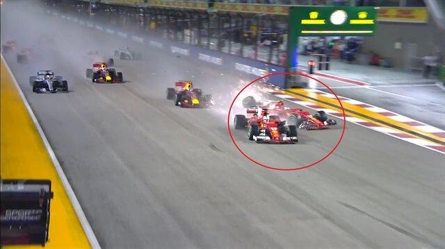 Yarış başlar başlamaz inanılmaz kaza!