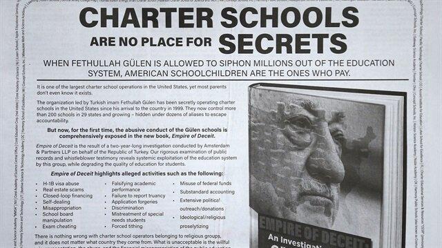 """İlanın başlığında """"Charter (sözleşmeli) okullarda sırlara yer yok"""" ifadesini kullandı"""