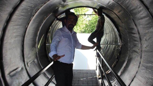 Aydın'da bir kolejin bahçesine inşa edilen Vortex Tüneli.