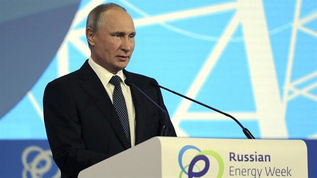 Russian President Vladimir Putin delivers a speech at the Russian Energy Week 2017 forum