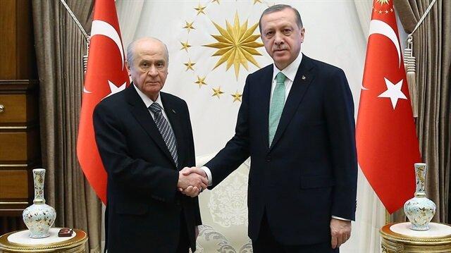 Cumhurbaşkanı Recep Tayyip Erdoğan, MHP Genel Başkanı Devlet Bahçeli