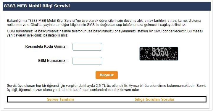 8383 MEB Mobil Bilgi Servisi
