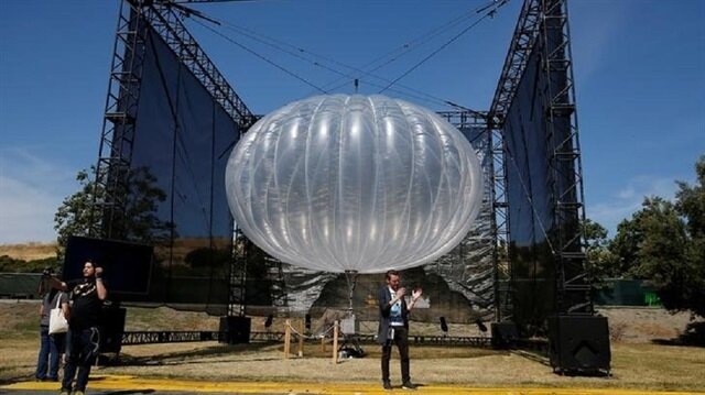 A Google Project Loon internet balloon is seen at the Google I/O 2016 developers conference in Mountain View, California.