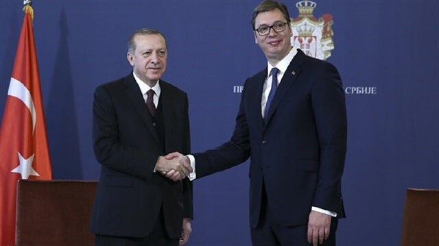 مؤتمر صحفي للرئيس أردوغان ونظيره الصربي عقب توقيع اتفاقيات تعاون بين البلدين في العاصمة الصربية بلغراد