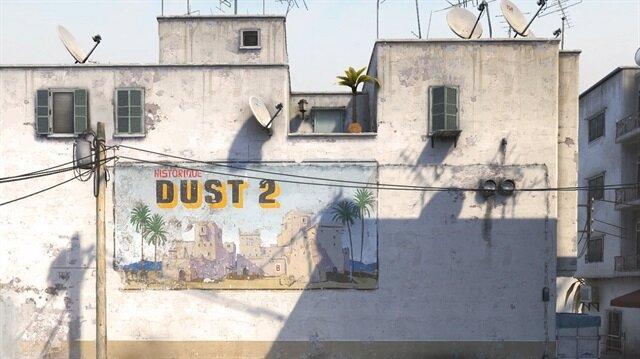 Valve'ın paylaştığı yeni Dust2 haritasından bir ekran görüntüsü.