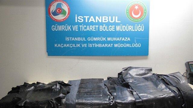 Atatürk Havalimanı'nda yılan ve timsah derileri yakalandı.