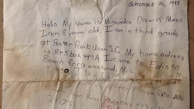 Message in a bottle returns to sender 29 years later
