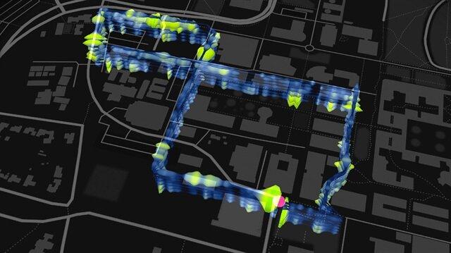 Fiber optik kablo ağının sismik araştırmalar için nasıl kullanıldığını gösteren bir harita.