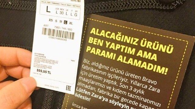 Zara ürünlerinde isyanın etiketi