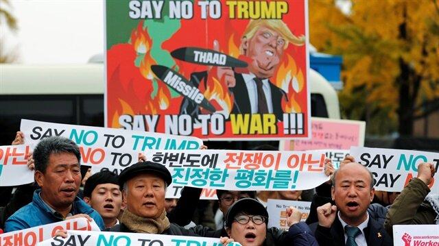 Güney Kore'de Trump protestosu