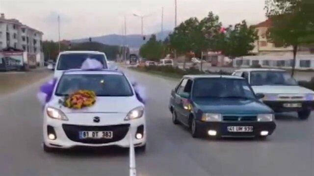 Düğün konvoyunda akılalmaz kaza!