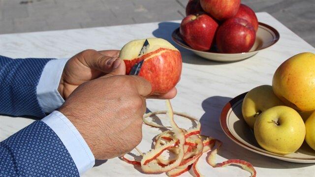 Bir elmadan 5 metre kabuk çıkardı