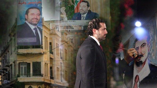 Lübnan'ın istifa eden başbakanı Saad Hariri'nin afişleri ülke sokaklarına asıldı.