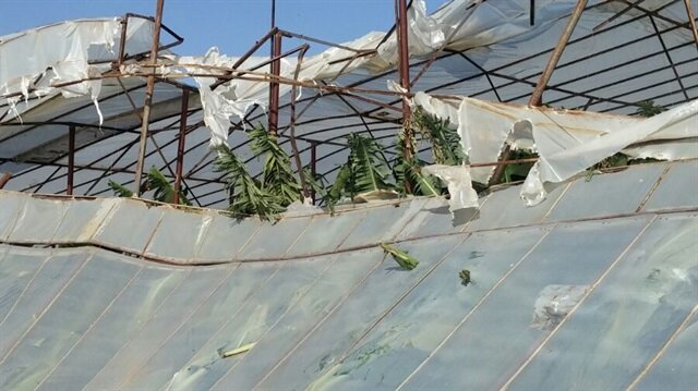 Mersin'de etkili olan hortum seralara zarar verdi.