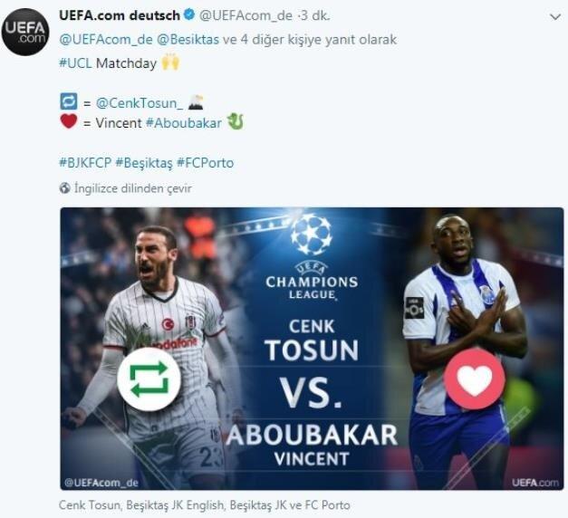 UEFA'nın Aboubakar'la Marega'yı karıştırdığı paylaşım.