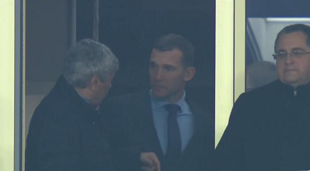 Lucescu maçı Shevchenko ile birlikte izledi.