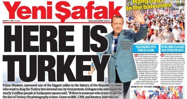 Yeni Şafak's front page
