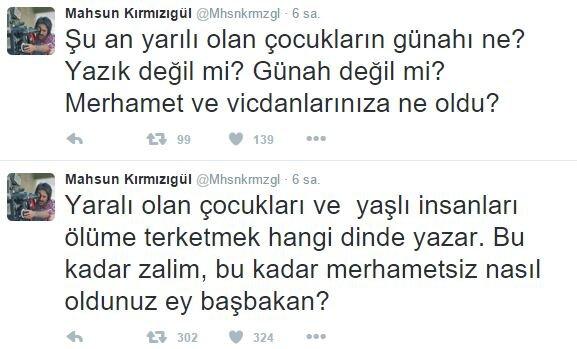 Mahsun Kırmızıgül kendi Twitter hesabından Başbakan Ahmet Davutoğlu'na 'zalim' ve 'merhametsiz' dedi
