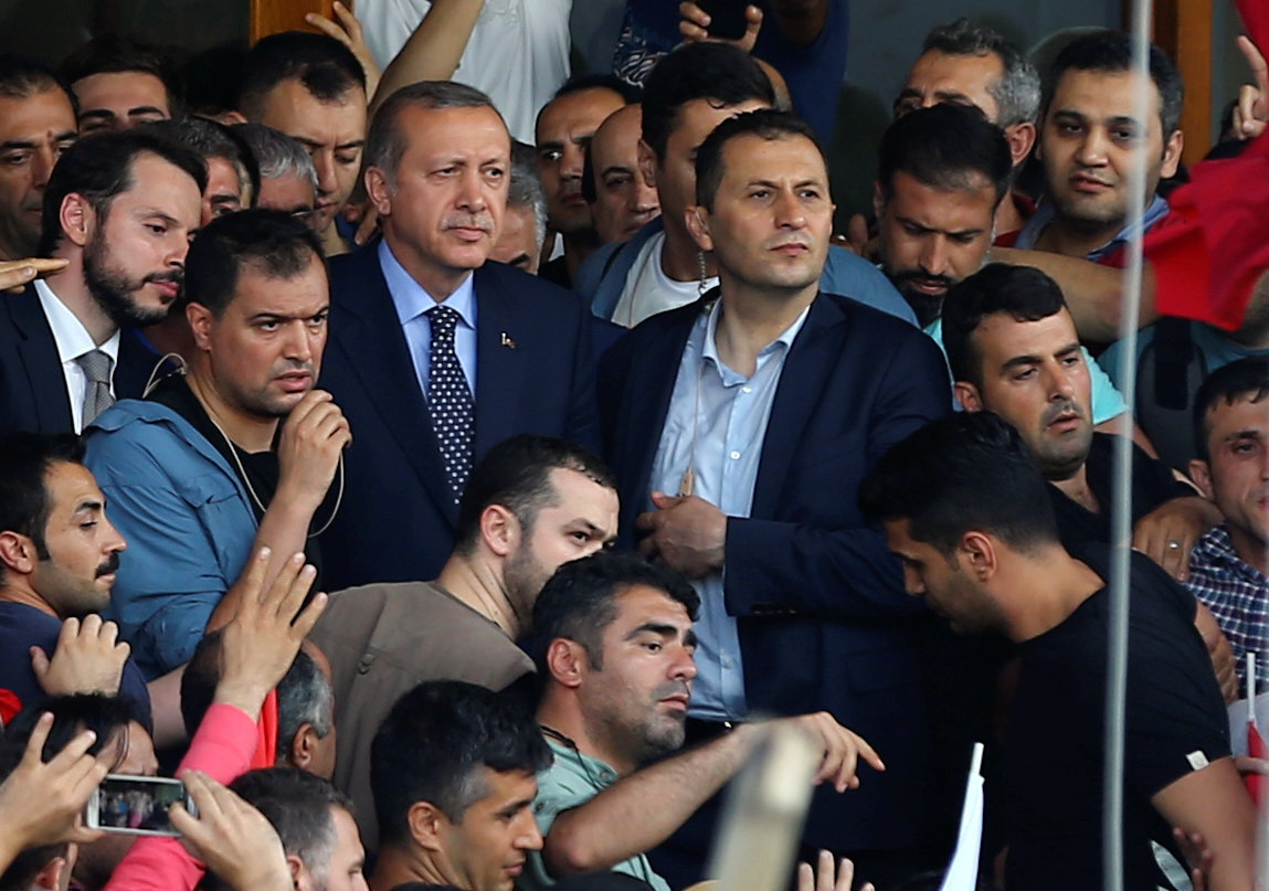 Addressing the crowd at the airport, Erdoğan called the coup plotters as traitors.