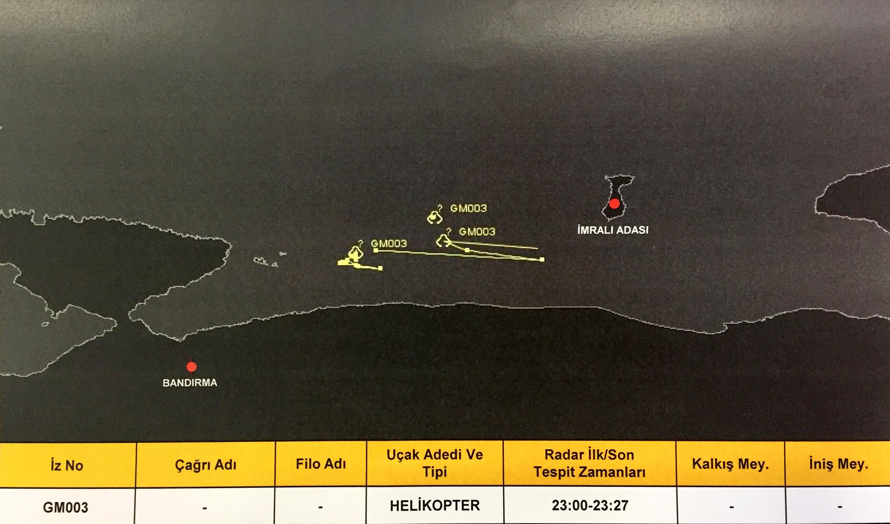 Helikopterlerin İmralı Adası çevresinde yoğun şekilde uçtukları tespit edildi. İmralı Adası üzerinde farklı saatlerde, farklı helikopterlerin hava trafiği kayıtlara yansıdı.