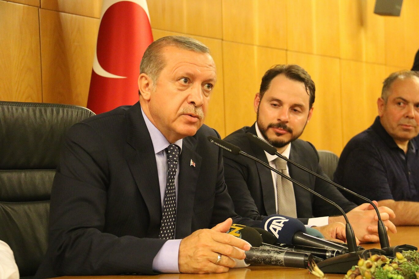 Erdoğan gave a speech at Atatürk Airport noting that F-16s threatened to intercept his private plane, and that the plotters were invaders and that the country would not surrender to them