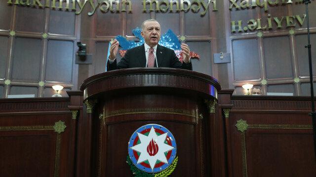 Turkish President Recep Tayyip Erdogan in Baku