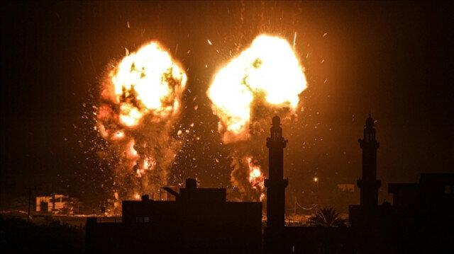 Flames are seen after an Israeli air strike hit Hamas targets in Gaza City, Gaza on June 15, 2021. ( Ali Jadallah - Anadolu Agency )