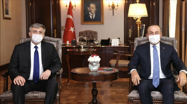 Turkish Foreign Minister Mevlut Cavusoglu (R) meets Chairperson of the Movement for Rights and Freedoms of Bulgaria Mustafa Karadaya (L) in Ankara, Turkey on June 04, 2021. ( Fatih Aktaş - Anadolu Agency )