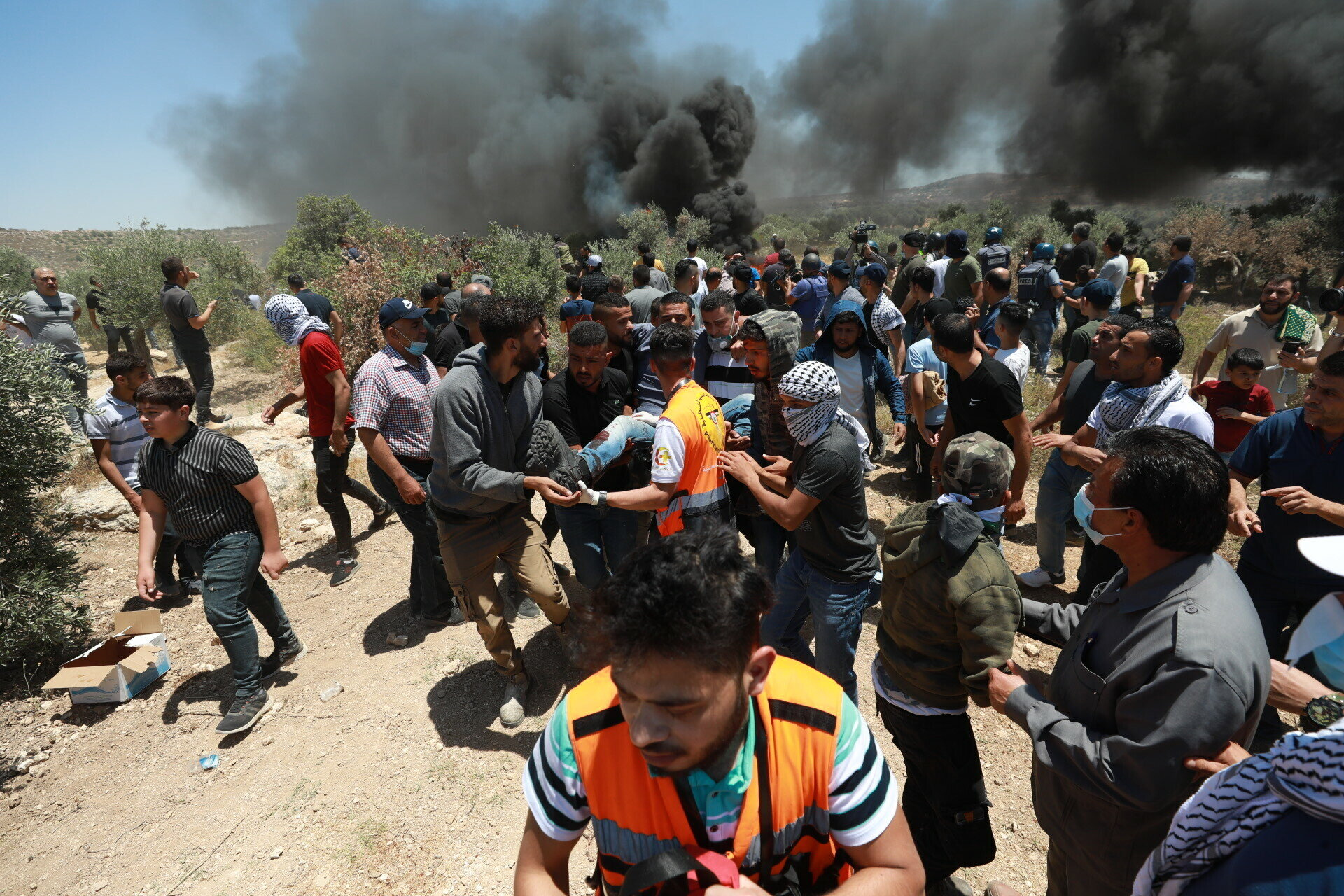 Palestinians' protest against Jewish settlements in West Bank