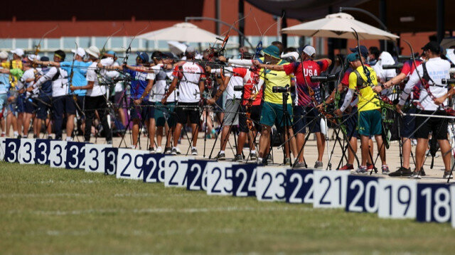 Athletes compete in the Archery - Ranking Round on Tokyo 2020 Summer Olympics at Yumenoshima Park in Tokyo, Japan on July 23, 2021.