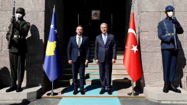Turkish National Defense Minister Hulusi Akar (C-R) meets Kosovan counterpart Armend Mehaj (C-L) at Defense Ministry headquarters in Ankara, Turkey on September 17, 2021.