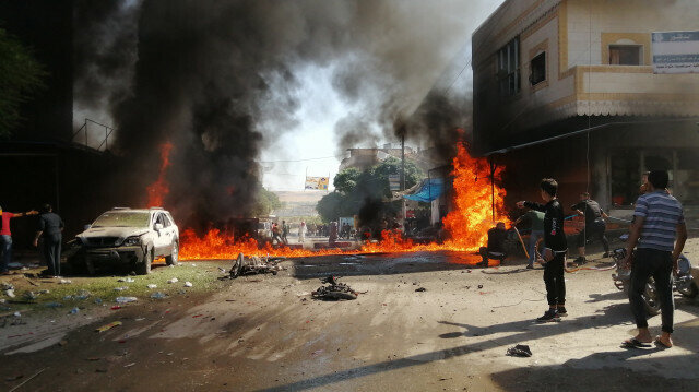 Twin bomb blasts in Syria's northern Jarabulus district of Aleppo, Syria on September 28, 2021.