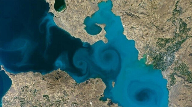 A photograph of Turkey's Lake Van taken from space by an NASA astronaut