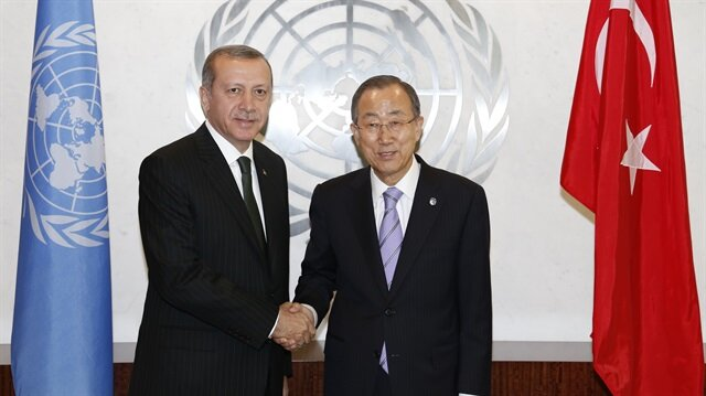 President Recep Tayyip Erdogan (L) shakes hand with United Nations Secretary General Ban Ki-moon prior to a meeting in New York, United States