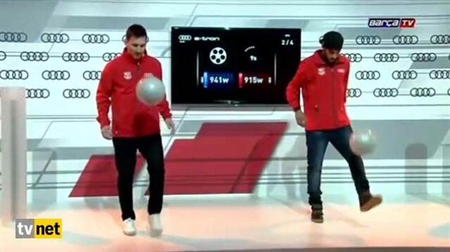 Messi ve Neymar'ın top sektirme yarışı