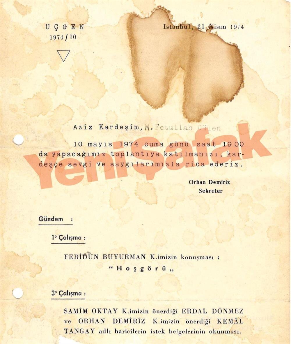 Gülen'in davet edildiği 10 Mayıs 1974 tarihli belgede, Feridun Buyurman'ın sunum yapacağı belirtiliyor.