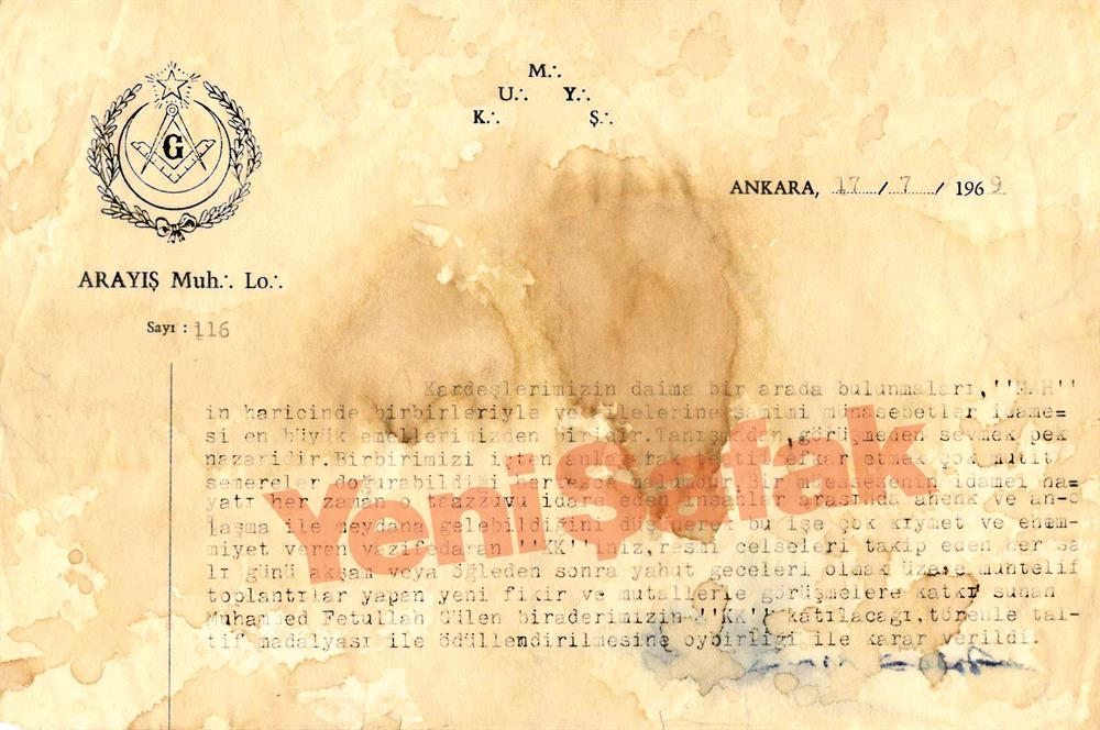 Gülen, 1969 yılında Hür ve Kabul Edilmiş Masonlar Locası tarafından üstün hizmetleri karşılığı taltif madalyası ile ödüllendiriliyor.