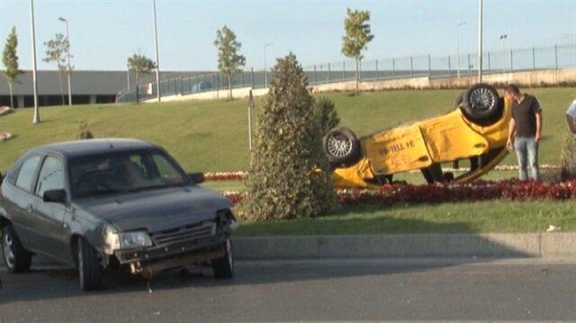 Atatürk Havalimanı yolunda korkutan kaza