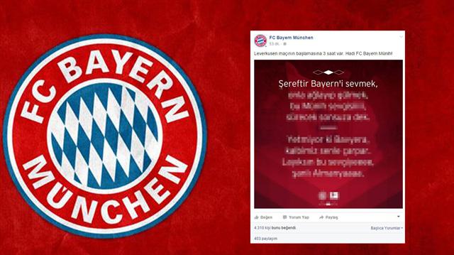 Bayern'den enteresan paylaşım