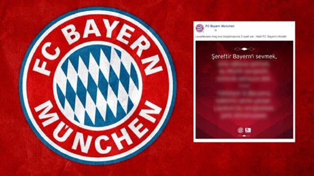 Bayern'den şaşırtan Türkçe paylaşım