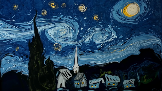 Yıldızlı Gece'ye ebru dokunuşu