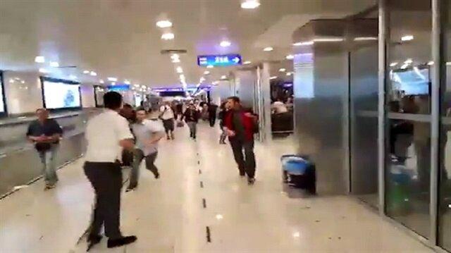 Havalimanındaki panik anları kamerada